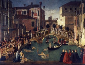 swimmers in art: Miracle of the Cross at the Bridge of San Lorenzo by Gentile Bellini