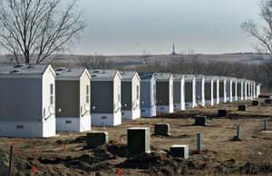 A row of new single-dwelling mobile homes in Williston.