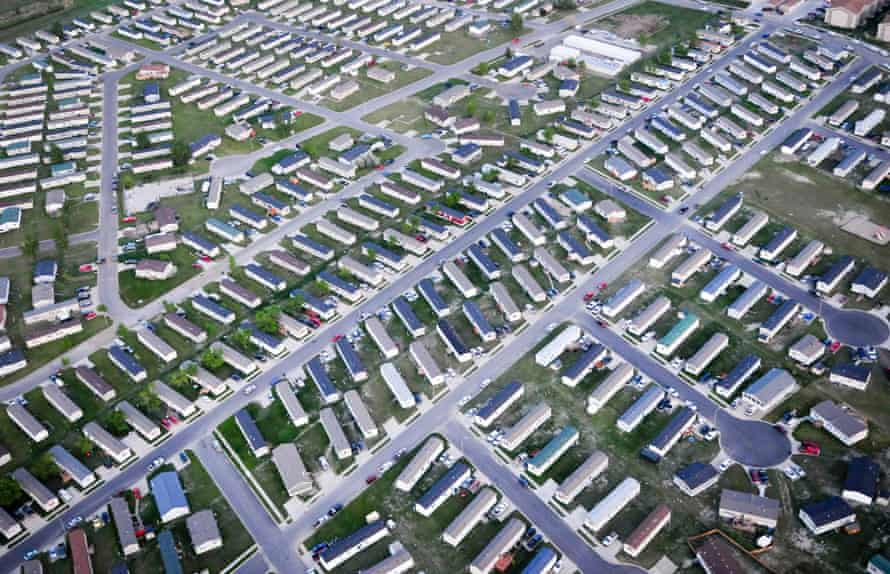 Rows of trailers used as housing for oil workers in Williston, North Dakota.