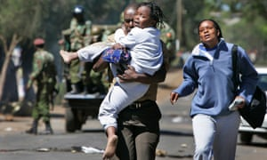 Kenyans fleeing post-election violence in Kibera in 2008.