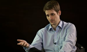 Edward Snowden during his interview with Guardian editor Alan Rusbridger and reporter Ewen MacAskill