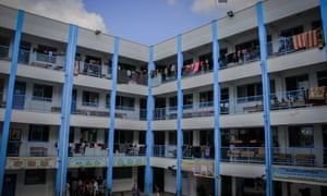 Families from North Gaza seek refuge in one of the UNRWA schools.