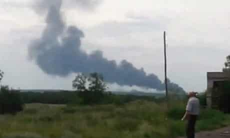Smoke reportedly from Malaysian Airlines plane crash in Ukraine
