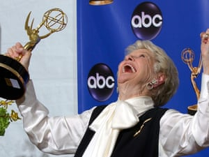 Elaine Stritch celebrating with her trophy for outstanding individual performance in a variety or music program at the 56th Annual Primetime Emmy Awards in Los Angeles.