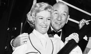 "Noel Coward, right, with actress Elaine Stritch backstage at New York's Broadhurst theatre after the Broadway opening of ""Sail Away."" Oct. 3, 1961"