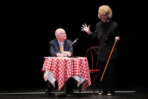 Theatre owner Gerald Schoenfeld and actress Elaine Stritch speak onstage at the Vincent Sardi Jr memorial service at the Gerald Schoenfeld Theater on March 13, 2007 in New York City.