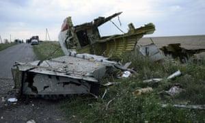 Wreckage of MH17 in Ukraine.