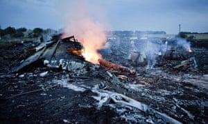 Debris from MH17 in Grabovo.