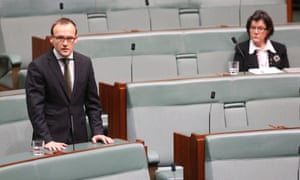 The Greens Adam Bandt in the House of Representatives this morning after the PM addressed the house on the Malaysian Airlines disaster, Friday 18th July 2014