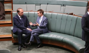 Peter Dutton and Wyatt Roy in the House of Representatives this morning Friday 18th July 2014 #politicslive Photograph  by Mike Bowers for The Guardian Australia