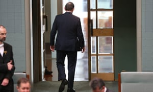 The Prime Minister Tony Abbott leaves the House of Representatives this morning after addressing the house on the Malaysian Airlines disaster, Friday 18th July 2014