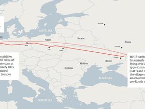 Flight path map of MH17
