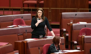 Greens senator Sarah Hanson-Young speaks in the senate this afternoon, Friday 18th July 2014