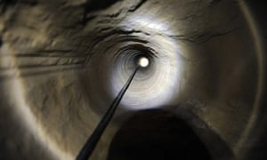 A view of a ventilation shaft along a tunnel allegedly dug by Palestinians beneath the border between the Gaza Strip and Israel and recently uncovered by Israeli troops