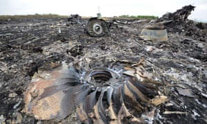A picture taken on July 18, 2014 shows the wreckages of the Malaysia Airlines jet carrying 298 people from Amsterdam to Kuala Lumpur