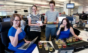 Beer tasting in the Guardian office.