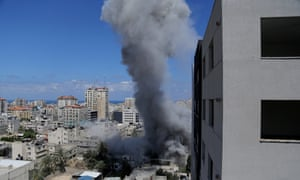 Smoke rises after an Israeli missile strike in Gaza City.