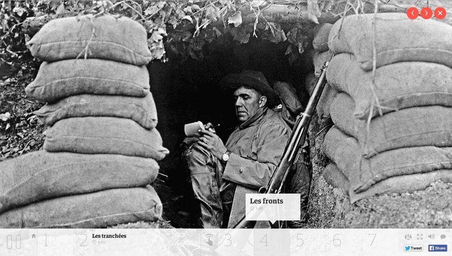 French soldier among sandbags