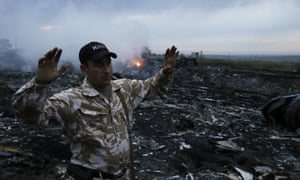 At the site of the crash of a Malaysia Airlines  flight from Amsterdam to Kuala Lumpur.