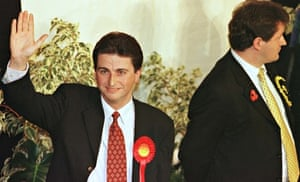 Douglas Alexander celebrating his victory in the Paisley South byelectionin November 1997