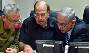 Benny Gantz, Moshe Ya'alon and Binyamin Netanyahu