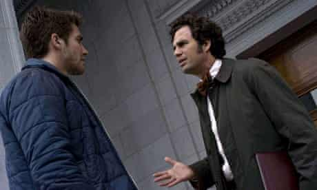 In early rehearsal? A raincoated Mark Ruffalo with Jake Gyllenhaal in Zodiac.