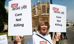 An opponent to Lord Falconer's bill outside parliament today.