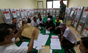 Election officials in Jakarta