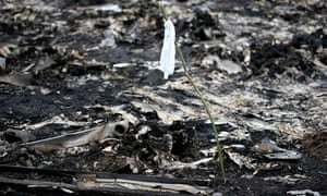 A white flag marks human remains at the site of the Malaysia Airlines plane crash in Ukraine