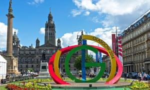 Commonwealth Games logo in George Square, Glasgow, Scotland, UK