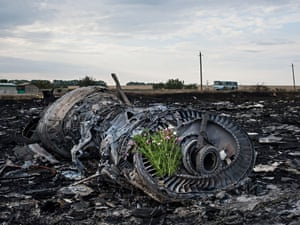Flowers are placed on a plane engine at the crash site of the Malaysia Airlines jet