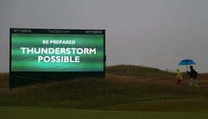 Due to a 'disruptive forecast' of thunderstorms and heavy rain, for the first time in 143 years of Open golf, there will be split tee-times.