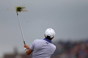 Rickie Fowler plays from the rough on the 15th hole. Fowler emerged from the pack to close in on Rory McIlroy.