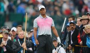 Tiger Woods looks dejected during the third round. He hit a spot of trouble on his way back, with a  triple bogey after losing his ball in a gorse bush.