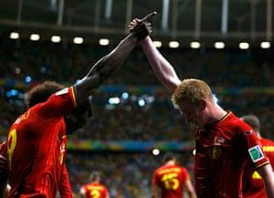belgium v usa: Belgium's Romelu Lukaku celebrates with Kevin De Bruyne