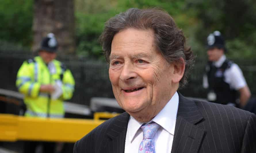 Former Chancellor of the Exchequer Nigel Lawson arrives at television studios in Westminster.