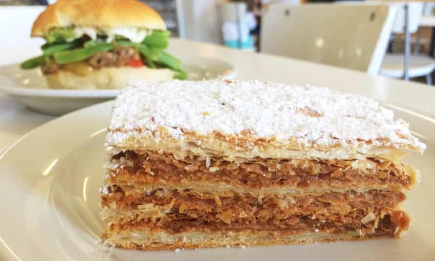 Sunshine: Sandwich and mil hoja pastry at La Morenita.