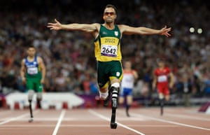 Oscar Pistorius wins gold in the men's 400m T44 final at the 2012 Paralympics.