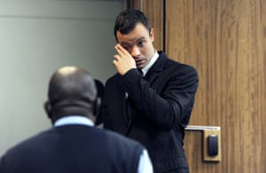 Oscar Pistorius in the court this morning.
