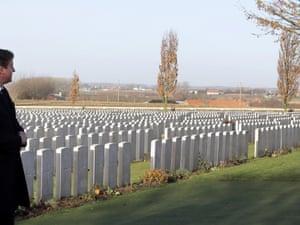 David Cameron visiting World War I graves at the Tyne Cot Cemetery in Zonnebeke, Belgium.