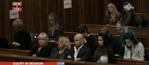 June Steenkamp and supporters in court.