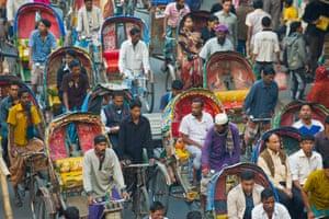 Busy rickshaw traffic in Dhaka, Bangladesh