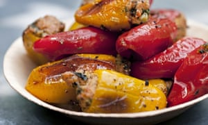 peppers with cod's roe and basil