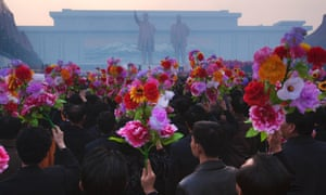 An unveiling ceremony for statues of the late leaders Kim Il-sung and Kim Jong-il in Pyongyang in 2012. Photograph: David Guttenfelder/AP