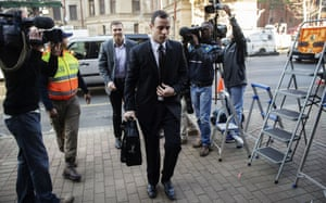 Oscar Pistorius arrives at the high court in Pretoria this morning.