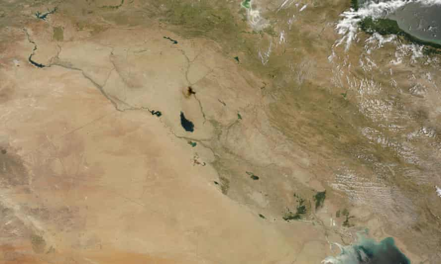 Satellite view showing two main rivers running from Turkey through Syria and Iraq on June 28 2014.