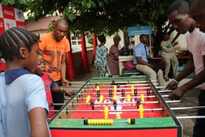 A family enjoy their own football match at Freedom Park