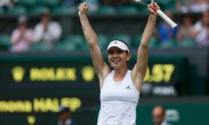 Simona Halep celebrates her win over Sabine Lisicki.