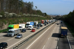Traffic on the autobahn near Stuttgart, Germany.