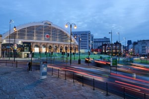 Traffic outside Liverpool Lime Street train station, Merseyside.